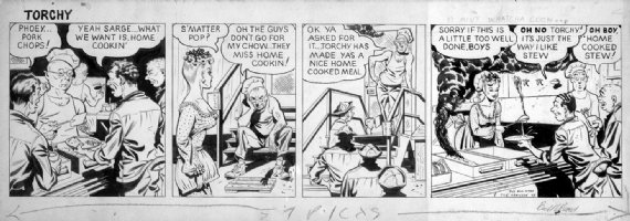 WARD, BILL - Torchy daily, 1943, Army Newspaper,  home-cooking  Comic Art