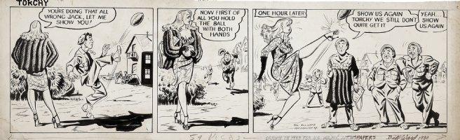 WARD, BILL - Torchy daily, 1943, Army Newspaper,  high kicking football  Comic Art