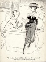 WARD, BILL - Timely/ Humorama Good Girl pinup- agent offers actress position in secluded spot, 1957 Comic Art