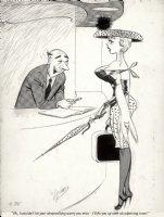 WARD, BILL - Timely / Humorama cartoon, blonde & hotel clerk - sleepwalking Comic Art