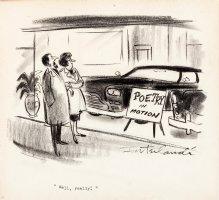 INTERLANDI, PHIL - Playboy cartoon, Car is  Poetry in motion ? 1960s Comic Art