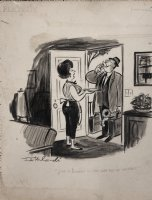INTERLANDI, PHIL - Playboy cartoon, martini at the door for salesmen May 1969 Comic Art