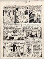 INGELS, GRAHAM - Crime SuspenStories #15 last pg, Wife cremates evil husband - Old Witch host on sled Comic Art