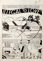 WOOD, WALLY / HARRY HARRISON - Modern Love #8 Splash of complete 6 page large art story, 1950 Comic Art