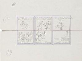 DAVIS, JACK - Topps Valentines - 3 Pencil Card set - Mad Humor theme - Poison Ivy, gun, showers - 1963 Comic Art