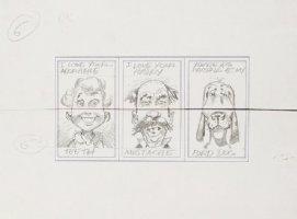 DAVIS, JACK - Topps Valentines - 3 Pencil Card set - Mad Humor theme - Teeth, Mustache, bird-dog - 1963 Comic Art