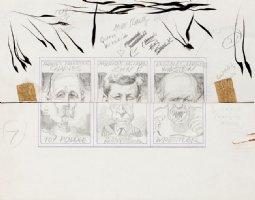 DAVIS, JACK - Topps Valentines - 3 Pencil Card set - Mad Humor theme - mixed halves- DeGaulle, Kennedy, Churchill - 1963 Comic Art