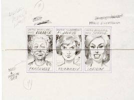 DAVIS, JACK - Topps Valentines - 3 Pencil Card sets - E. Roosevelt, Jackie Kennedy Sofia Loren  1963 Comic Art