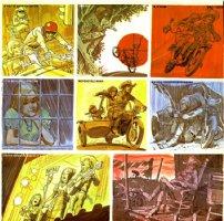 DAVIS, JACK - Sailcat: Motorcycle Mama album cover, large back painting 1972 Comic Art