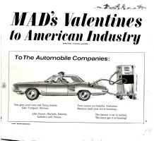 WOODBRIDGE, GEORGE - Mad #94 One-Page gag art, 17 X 15, Valentine to Auto Industry  1965 Comic Art