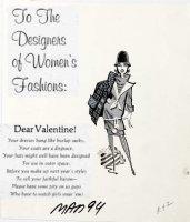 RICKARD, JACK - Mad #94 One-Page gag, Valentine to woman's fashion 1965 Comic Art