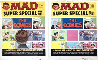 CLARKE, BOB - Mad Super Special painted cover,  The Comics : Superduperman, Lone Ranger, Dick Tracy, Minnie Mouse and Donald Duck, Annie, Daddy Warbucks, and Alfred E Neuman Comic Art