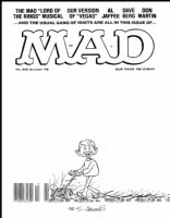 ARAGONES, SERGIO - Mad #210 cover, Alfred E Neuman mowing down Gaines-hated UPC code 1979 Comic Art