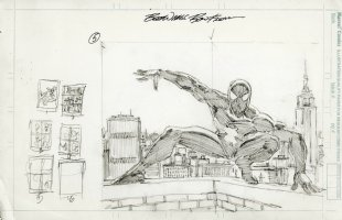 FRENZ, RON - Amazing Spider-Man wrap-cover pencils #268? Black Spidey in NYC Comic Art