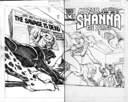 FRENZ, RON / BRUCE JONES - Kazar the Savage #22 wraparound cover pencil, Shanna takes title Comic Art