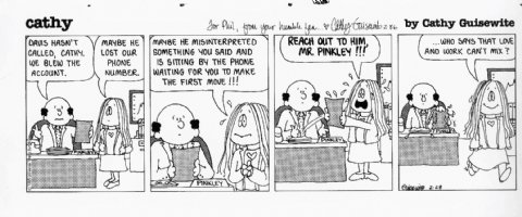 GUISEWITE, CATHY - Cathy daily with boss- 2/28 1985 signed to cartoonist Phil Frank Comic Art