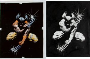 BLEVINS, BRET - Wolverine Poster, large ink + bonus color art, 1991 Comic Art