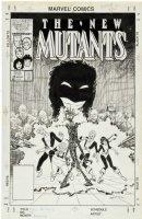 BLEVINS, BRETT - New Mutants #49 cover, team group-shot Comic Art