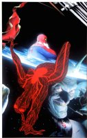 ROSS, ALEX - Marvels Earth X #8 painted cover, older Spider-Man, Green Goblin & Spider-girl / Venow, Clea Dr Strange cape - Hulk arm  Comic Art