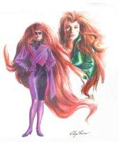ROSS, ALEX - Marvels project painted design, 2 Medusa's of Inhumans 1994 Comic Art