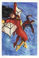 ROSS, ALEX - Spider-Woman & Spider-Man, published painting, large 14 x 21  - 2006 Comic Art