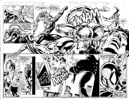 DEODATO, MIKE - Spider-Man Unlimited #22 pgs 14-15, double spread  battle pages with Spider-Man vs Scorpion! Comic Art