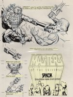 STEVENS, DAVE - He-Man, Masters of the Universe versus Spikor; blister card back cover- with overlay Comic Art