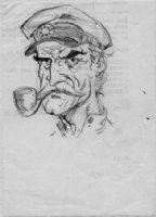 STERANKO, JIM - Captain pencil Illustration on back of business paper Comic Art