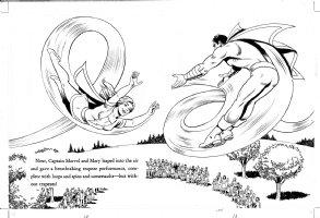 SCHAFFENBERGER, KURT - Captain Marvel - Shazam book 1970s  pages 12 & 13 Comic Art