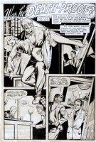 BAKER, MATT - Journey Into Fear #1 pg 1, Good-Girl horror splash ,  Was He Death-Proof  monstrous man captures woman, drawn 1947, signed in black 1951 Comic Art