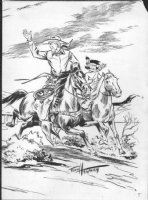 HARMAN, FRED - Red Rider & Little Beaver Inside Cover  Comic Art