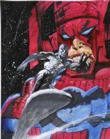 BISLEY, SIMON - Silver Surfer and Galactus, Fleer card art painting Comic Art