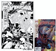 WIERINGO, MIKE / KARL KESEL - Amazing Spiderman #527 variant cover next to comic, future Spider-Man Comic Art