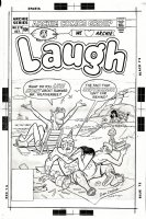 DECARLO, DAN - Laugh #7 large cover, Beach Scene - Archie drops ice cream & dogs for Betty & Veronica Comic Art