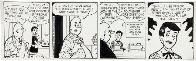 DeCARLO, DAN - Archie daily 2/11 1981,  Principal's office Comic Art
