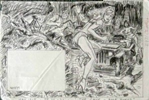 NOREM, EARL - Stag Magazine (Marvel) May 1969 pgs 20-21 double splash pencil art,  The Cave   monster vs women in high-heels & underwear Comic Art