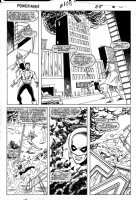 LaROCQUE, GREG - Powerman & Iron Fist #108 pg 25, PM & Iron Fist saving burning building Comic Art