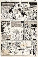 LaROCQUE, GREG - Powerman & Iron Fist #103 pg 27, Luke Cage vs armored villain Comic Art