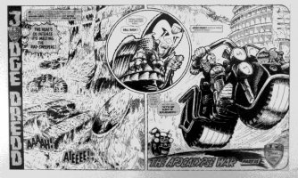 EZQUERRA, CARLOS - 2000 AD APOCALYPSE WAR #15 Judge Dredd double splash Comic Art