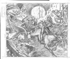 BRUNNER, FRANK - Marvel 1976 Calendar plate pencil design on vellum, Dracula, Werewolf, Manthing Comic Art