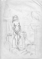 BRUNNER, FRANK - Alice In Wonderland stands prelim Comic Art