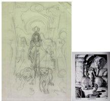 BRUNNER, FRANK - Cleopatra Flesh and Fantasy pencil rough, plate 3 1974 Comic Art