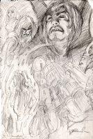 BRUNNER, FRANK - Heavy Metal Mag.  Elric semi-splash pg 72, pencil design Comic Art