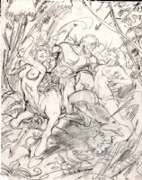 BRUNNER, FRANK - Fantasy Art Pencil Art, Centaurette and woman captured, detail 1970s Comic Art