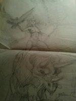 BRUNNER, FRANK - Cavegirl & triceratops, good girl portfolio design art, pencil 1970s Comic Art