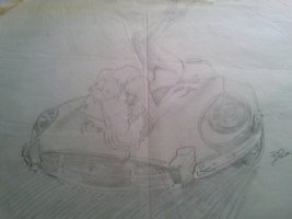 BRUNNER, FRANK - good-girl portfolio prelim, gal on corvette car, 1970s Comic Art