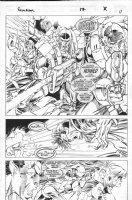 LASHLEY, KEN - Excalibur #87 pg 11, semi-splash, Nghtcrawler & team battle troops Comic Art