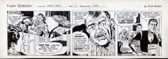 BARRY, DAN - FLASH GORDON daily , robot story 4-1 1961  Comic Art