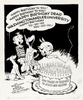 FISHER, DUDLEY - Myrtle + gang Pinup: Washington & Lee University 200th Anniversary booklet 1949 Comic Art
