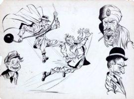SIMON & JACK KIRBY - Green Hornet comic designs large size designs, Hornet vs villains 1941-42 Comic Art